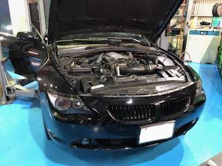 6シリーズ(E63)エンジン停止 オイル漏れ特定 修理